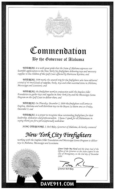 AL Governor Proclamation for FDNY Firefighters